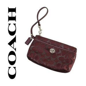 Coach Burgundy Signature C Canvas Wristlet NWOT